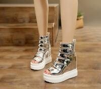Womens Shiny Sandals Boots Platform high Wedge Heel Hollow Out Shoes Open Toe