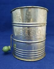 Vintage Bromwell's Radio Sifter with Wooden Green Handle - Tin Flour Sifter