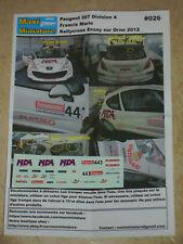 Décals 1/43e Peugeot 207 Division 4 Francis Marie Rallycross Essay sur Orne 2012