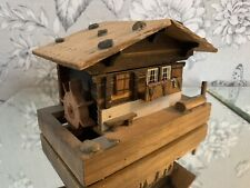 VINTAGE REUGE SWISS MUSICAL MOVEMENT HOUSE CHALET Music BOX Moving Water Wheel