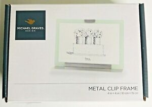 """Michael Graves Design 4"""" x 6"""" Metal Clip 2 Sided Glass Photo Picture Frame NIB"""
