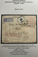 1941 British HM Ships Censored On Active Service Cover to Cork Ireland Welper