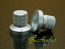New listing 2 pcs 30mmD x 27mmL Silver Color Solid Aluminum Knobs for Audio Equipment Diy