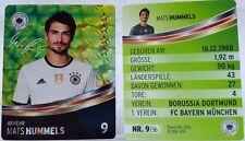 REWE Fussball EM 2016 EURO Sammelkarte - GLITZER Nr. 9 Mats Hummels