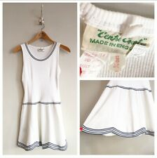 True Vintage 1960s/20s/30s Centre Court White Cotton Tennis Mini Dress UK8 10