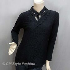 Dual Layered Beaded Sequined Collar Lace Blouse Top Black M