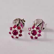 Natural Ruby Earrings Top Colour Rubies Genuine Diamonds 9k White Gold Studs