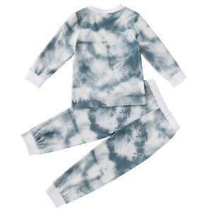 2pcs Toddler Kids Tie-Dye Outfits Clothes Long Sleeve Shirt Pants Pajamas Set
