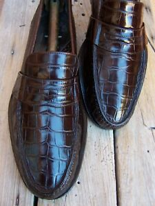 COLE HAAN Mens Casual Dress Shoes Brown Alligator Leather Penny Loafers Size 9M
