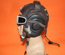 Flight Helmet Air Force  Mig-15 Fighter Pilot Leather+ Throat Mic +Goggles