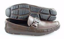 R - Men's SALVATORE FERRAGAMO 'Sardegna' Brown Leather Loafers Size US 10 - D