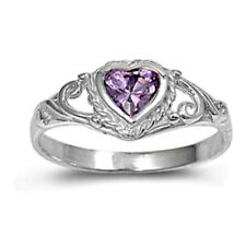 .925 Sterling Silver Ring size 4 CZ Heart Baby Kids Amethyst Midi Ladies New