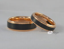 His And Hers Black Tungsten Carbide With Rose Gold Wedding Engagement Ring Set