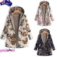 AU Womens Winter Warm Outwear Floral Print Hooded Pockets Vintage Oversize Coats