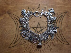 Wicca Witch Pagan 38 Charm Bracelet Cat Pentagram Star Tree Athame Goblet Charms