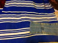 1m,75x0,37en tout toile de transat ou futur sac de plage ...rayures bleues
