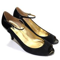 J Crew Black Cossette Suede Patent Peep Toe Mary Jane Pumps /Heels Womens Size 8