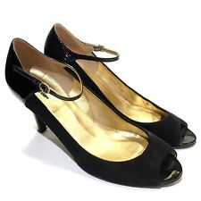 90cf285a7a0dd J Crew Black Cossette Suede Patent Peep Toe Mary Jane Pumps /Heels Womens  Size 8