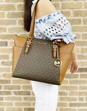 Michael Kors Charlotte Top Zip Tote Brown Signature Shoulder Bag