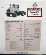 1973 Mack Trucks Model DM-600S Series Diagram Dimensions Sales Brochure Original