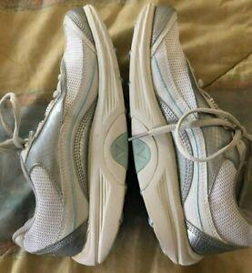 AETREX Bodyworks Sport Walking Shoe WHITE Silver Rocker Sz 6.5 M