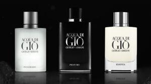 Acqua Di Gio Pour Homme 2.5 oz / 75 ml Toilette Collection Each Sold Separately