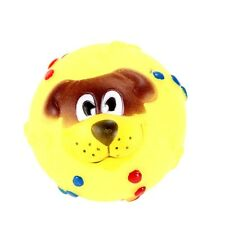 New Pet Puppy Squeaky Rubber Colorful Dog Face Traning Play Toy Random Color