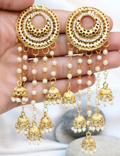 Indian Bollywood Jewelry Gold Plated Wedding Wear Traditional Pearl Earring Set