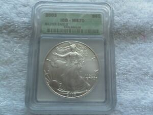 2003 1 oz American Silver Eagle Bullion IGC MS Free Shipping