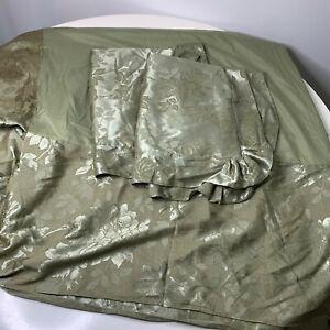 """bedskirt and 2 sham set silk blend color green rose design 14"""" drop twin"""