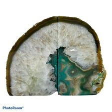 Teal Blue Agate Geode Bookends 7.5 Lbs