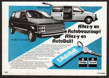 1984 DODGE Caravan Vintage Original small Print AD AutoBail PLYMOUTH Voyager Fr
