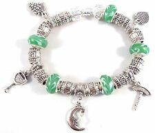 WINE TIME Girls Night Pinot Green Glass Beads Silver European Charm Bracelet