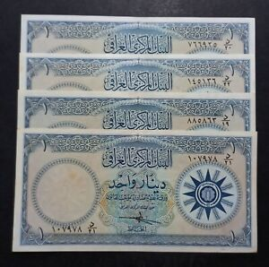 Iraq Lot 4x 1 Dinar ND(1959) P.53a  Sign 13  XF/AUNC