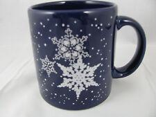 Silver Snowflakes on Blue Mug 12oz Waechtersbach Germany New