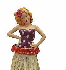 Pin up Redhead Hula Girl Car Dashboard Doll Grass Skirt Hawaiian 7 Inch