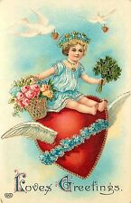 c1913 EAS Embossed Valentine Postcard Girl Rides through the Sky on Winged Heart