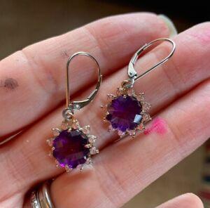 Amethyst & Diamond earrings in 14k white gold