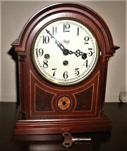 Beautiful Sligh antique mantle or desk clock with key--model 0519-2-CM