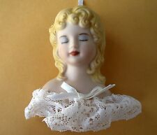 Vintage Handpainted Ceramic Porcelain Doll Head w/Lace Trim Christmas Ornament