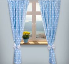 Baby Room Nursery Curtains 2 Panels 155x155 Cm - Polka Dot Blue