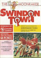 Football Programme - Swindon Town v Shrewsbury Town - Div 2 - 29/9/1987