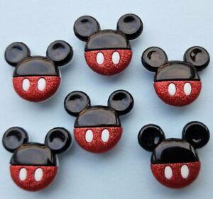 Glitter MICKEY MOUSE HEADS Disney Children Boy Dress It Up Novelty Craft Buttons