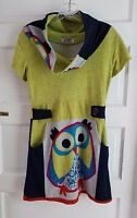 Mexicali Blues Owl Soft Jersey Knit Sweater Dress Cowl Neck Colorful Womens M