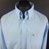 Tommy Hilfiger Mens Vintage Shirt XL Long Sleeve Blue Regular Fit Cotton