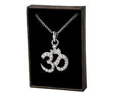 Hindu Om Necklace - White Gold Plated | Religious Diwali Hindi New Years Gift
