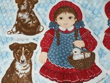 Amanda and her dog Rags Cut and Sew panel by cranston print works,vintage