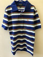 Ralph Lauren garçon 8 ans rayé bleu orange bleu marine Big Pony POLO SHIRT auth BNWT