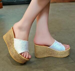 Womens sequins open toe high heel wedge platform sandal shoes creepers Slippers