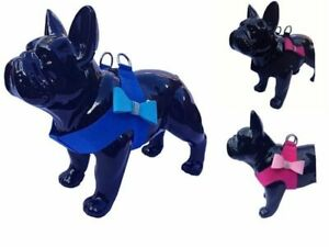 """CUTE DOG SM/L HARNESS BLUE BOW WITH DIAMANTE 20"""" CHEST LARGE JACKS PUGS"""